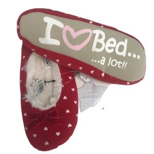 3/$25 Next Heart Print Red Bow Ballerina Slippers